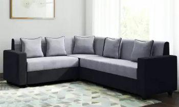 Furny Funliving Fabric Six Seater L Shape - 3 Seater + 2 Seater +1 Seater Corner Sofa Set