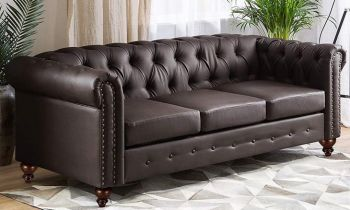 Furny Casafurnish Natasa Chesterfield Three Seater Leatherette Sofa (Brown)