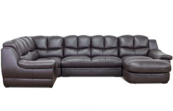 Furny Zamia U shaped 6 Seater Sofa Set (Brown)
