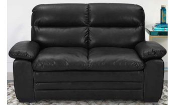 Furny Azarios Two Seater Leatherette Sofa (Black)