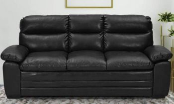 Furny Azarios Three Seater Leatherette Sofa (Black)