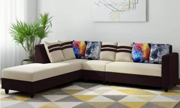 Furny Casaleon Six Seater LHS L Shape Sofa Set (Cream-Brown)