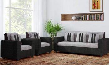 Furny Cosmosito Five Seater Fabric 3+1+1 Sofa Set (Grey-Black)