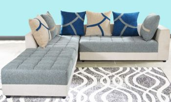 Furny Multistyle 7 Seater L Shape Sofa LHS (3 Seater + 2 Seater + 2 Puffay) Combo (Grey-Cream)