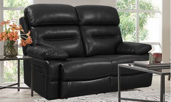 Furny Stylona Two Seater Recliner Sofa in Leatherette (Black)
