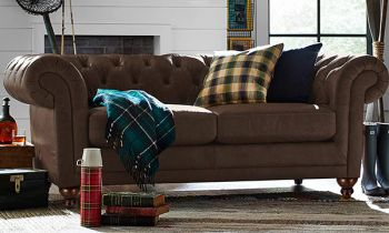 Furny Smaston Two Seater Chesterfield Sofa Set in Leatherette (Dark Brown)