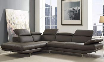 Furny Alvinster  Five Seater LHS L Shape Sofa Set in Leatherette with Adjustable Headrest & Armrest (Grey)