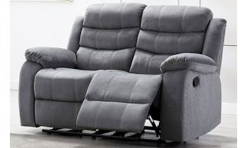 Furny Rochas Two Seater Recliner Sofa in Fabric (Light Grey)