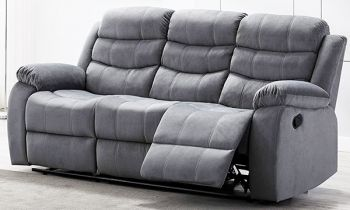 Furny Rochas Three Seater Recliner Sofa in Fabric (Light Grey)