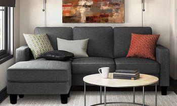 Furny Loretta Four Seater LHS L Shape Sofa Set (Grey)