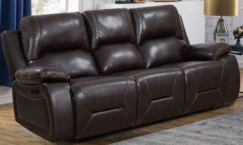 Furny Heuvika Three Seater Recliner Sofa in Leatherette (Dark Brown)