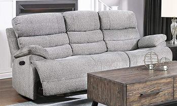 Furny Halston Three Seater Recliner Sofa in Fabric (Light Grey)