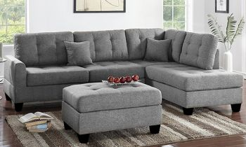 Furny Brenster Six Seater RHS L Shape Sofa Set (Light Grey)