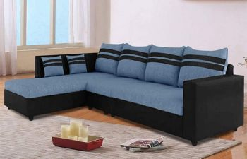 Furny Clarion Six Seater LHS L Shape Sofa Set (Blue-Black)