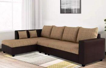 Furny Lavis Six Seater LHS L Shape Sofa Set- Polyester Fabric & Premium Leatherette (Camel - Brown)