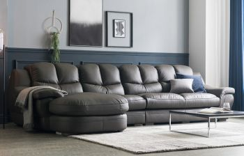 Furny Zamia Five Seater LHS L shape Sofa (Grey)
