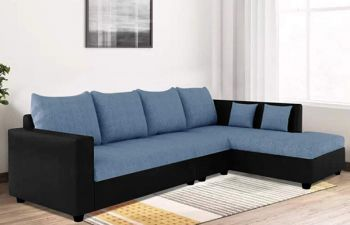 Furny Lavis Six Seater RHS L Shape Sofa Set- Polyester Fabric & Premium Leatherette