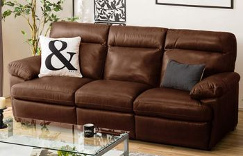 Furny Margus 3 Seater leatherette Sofa (Brown)