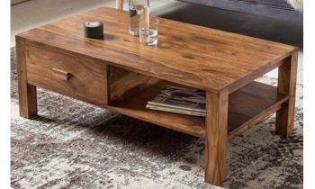 Furny Clover Solid Wood Coffee Table (Teak Wood) in Teak Polish