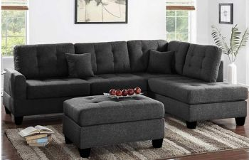 Furny Brenster RHS 6 Seater L Shape Sofa Set in Fabric (Dark Grey)