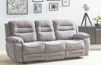 Furny Larossa 3 Seater Recliner Sofa For Living Room (Light Grey)