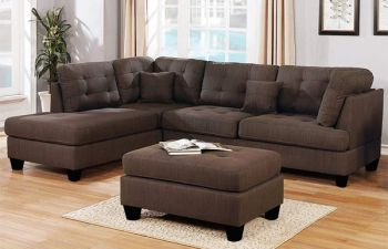 Furny Bronsaro 6 Seater Fabric L Shape Sofa Set