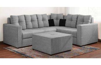 Furny Samantha 6 Seater Sofa Set with Ottoman (Light Grey)