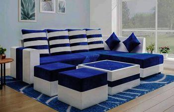 Furny Stylond 8 Seater Fabric L Shape Sofa Set for Living Room (Light Grey-Blue)