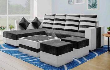Furny Stylond 8 Seater Fabric L Shape Sofa Set for Living Room (Light Grey-Dark Grey)