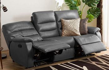 Furny Hopson Three Seater Recliner Sofa in Leatherette (Grey)