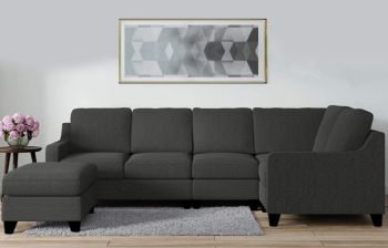 Furny Boxena Six Seater Corner Sofa (Dark Grey) | Modern Sofa & Designer Furniture