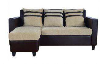 Furny Mint Four Seater L shape Interchangeable Sofa( Beige Brown)