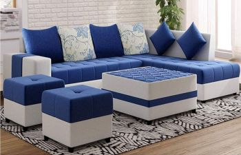 Furny Stolino 8 Seater Fabric L Shape Sofa Set with Centre Table & 2 Puffy (Blue-Light Grey)