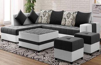 Furny Stolino 8 Seater Fabric L Shape Sofa Set with Centre Table & 2 Puffy (Dark Grey-Light Grey)