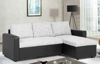 Furny Melona 4 Seater Fabric-Leatherette Interchangeable L Shape Sofa Set (Light Grey-Black)