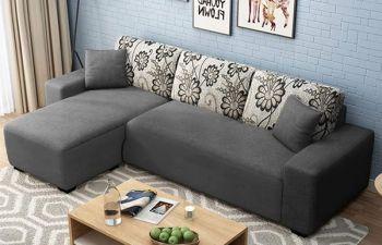 Furny Berlaan Fabric 4 Seater L Shape Sofa Set (Dark Grey)