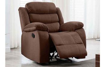 Furny Rochas 1 Seater Fabric Recliner Sofa (Brown)