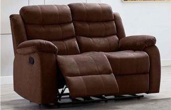 Furny Rochas 2 Seater Fabric Recliner Sofa Set (Brown)