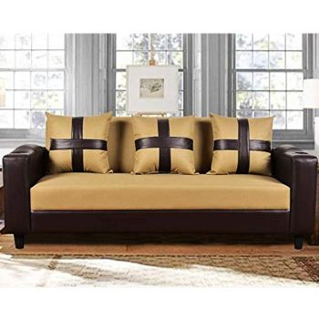 Furny Lifestyle 3 Seater Fabric Sofa with Cup Holder & Puffed Armrest (Beige-Brown)