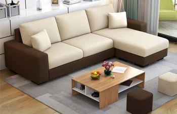 Furny Arvon 4 Seater Fabric L Shape Sofa Set  (Cream-Brown)