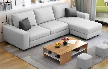 Furny Arvon 4 Seater Fabric L Shape Sofa Set (Light Grey)