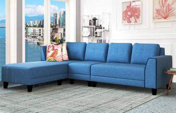 Furny Morris 6 Seater Fabric L Shape Sofa Set (Blue)