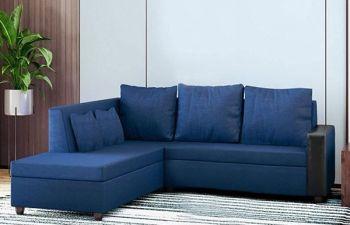 Furny Casprona 4 Seater Fabri L Shape Sofa Set (Blue)