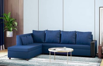 Furny Casprona 6 Seater Fabric L Shape Sofa Set (Blue)