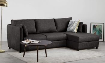 Furny Maxwell Four Seater L Shape Sofa (Dark Grey)