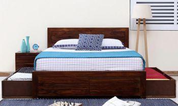 Furny Salomao Teak Wood  Bed with Drawer Storage (Teak Polish)