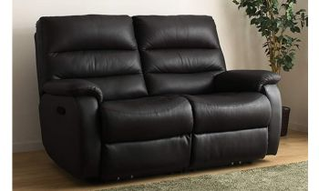 Furny Casafurnish Venetian Two Seater Recliner Sofa in Leatherette (Black)