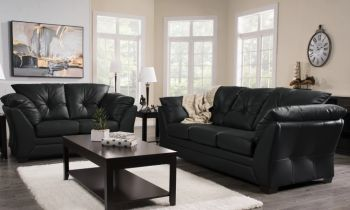 Furny Brooklyn Five Seater 3+2 Leatherette Sofa Set (Black)