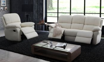 Furny Vento Three Seater Recliner Sofa in Leatherette (Cream)