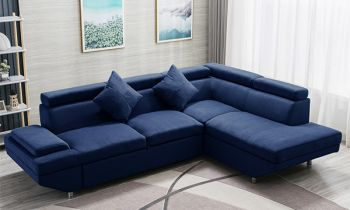 Furny Alimo RHS Four Seater L Shape Sofa Set (Blue)